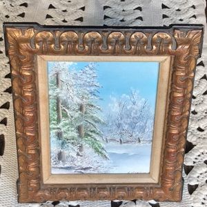 Vintage Painted Canvas Snowy Tree Scene Wood Frame